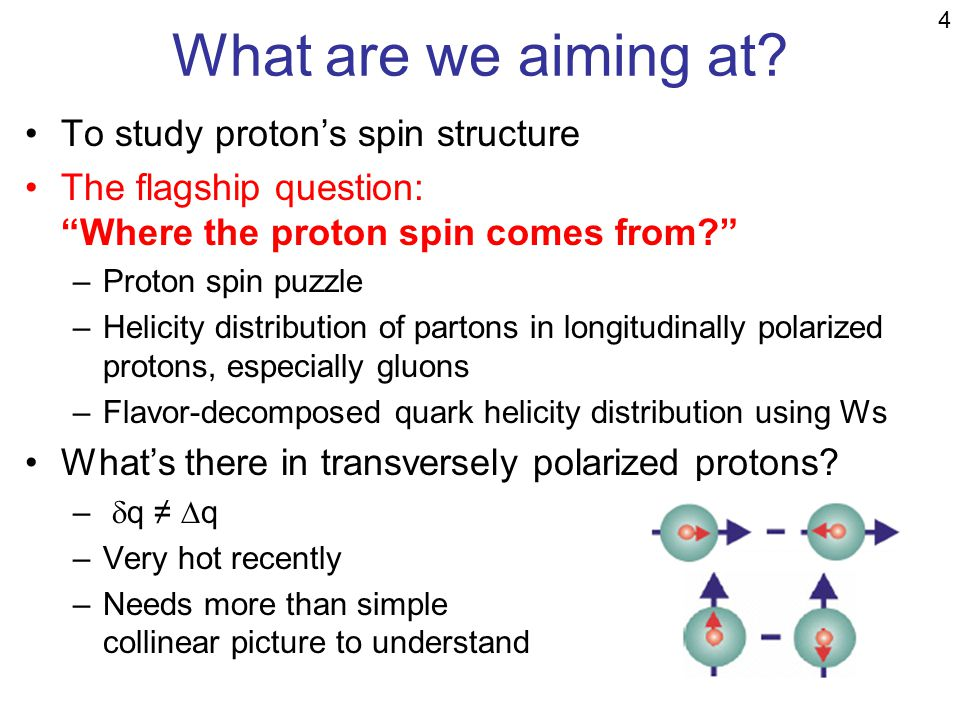 What are we aiming at? To study protons spin structure The flagship question: Where the proton spin comes from? –Proton spin puzzle –Helicity distribu