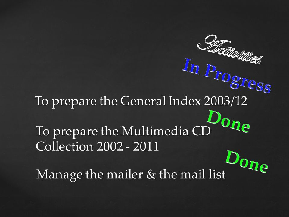Manage the mailer & the mail list To prepare the General Index 2003/12 To prepare the Multimedia CD Collection 2002 - 2011