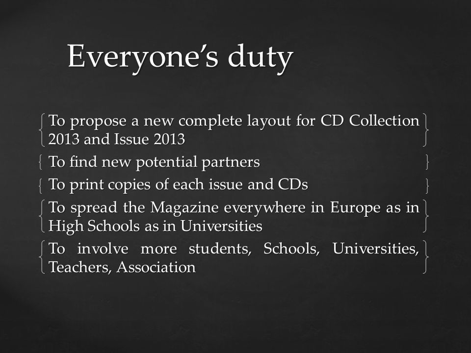 Everyones duty To propose a new complete layout for CD Collection 2013 and Issue 2013 To find new potential partners To print copies of each issue and