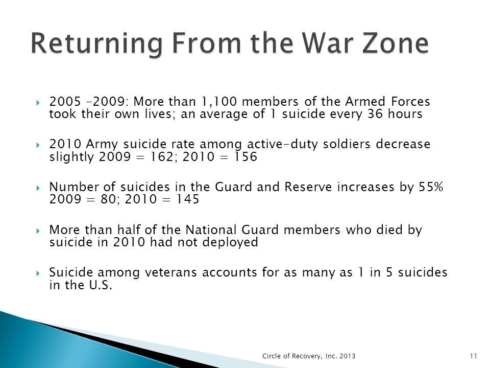 2005 –2009: More than 1,100 members of the Armed Forces took their own lives; an average of 1 suicide every 36 hours 2010 Army suicide rate among acti