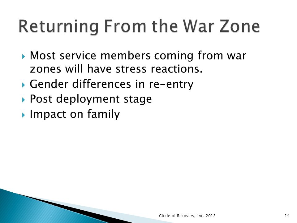 Most service members coming from war zones will have stress reactions. Gender differences in re-entry Post deployment stage Impact on family Circle of