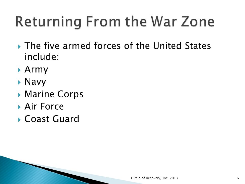 The five armed forces of the United States include: Army Navy Marine Corps Air Force Coast Guard Circle of Recovery, Inc. 20136