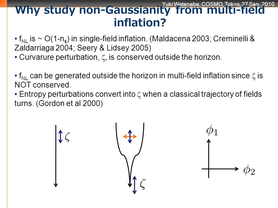 Yuki Watanabe, COSMO, Tokyo, 27 Sep. 2010 Why study non-Gaussianity from multi-field inflation? f NL is ~ O(1-n s ) in single-field inflation. (Maldac