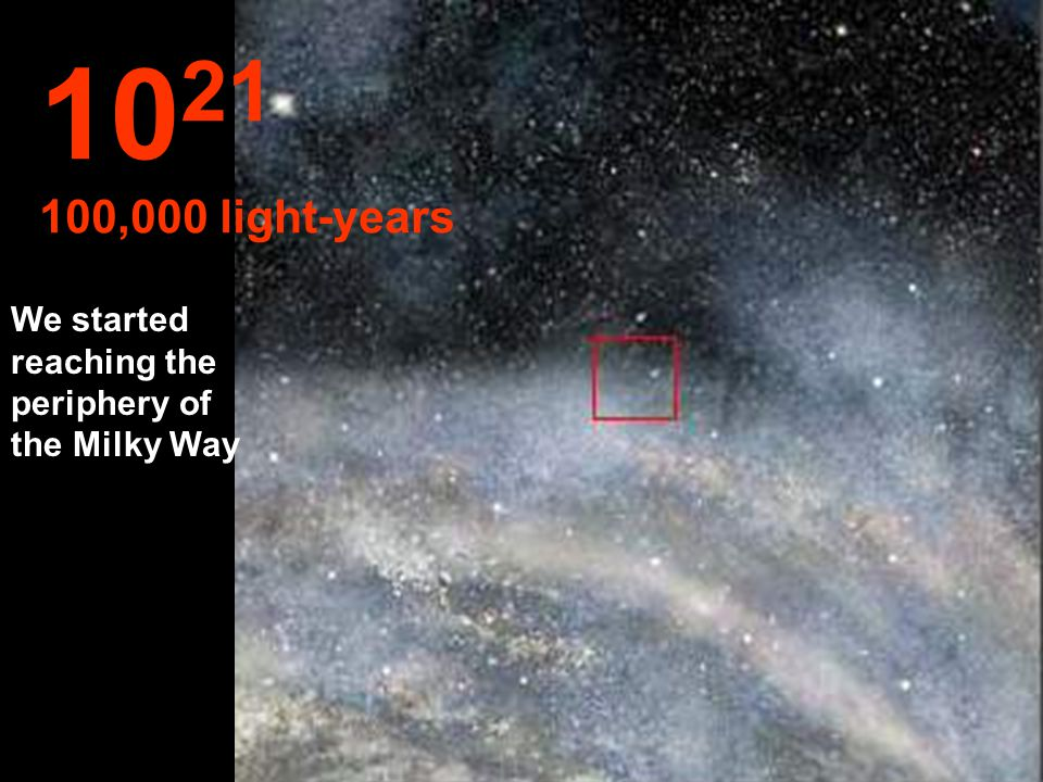 We continued our travel inside the Milky Way. 10 20 10,000 light-years