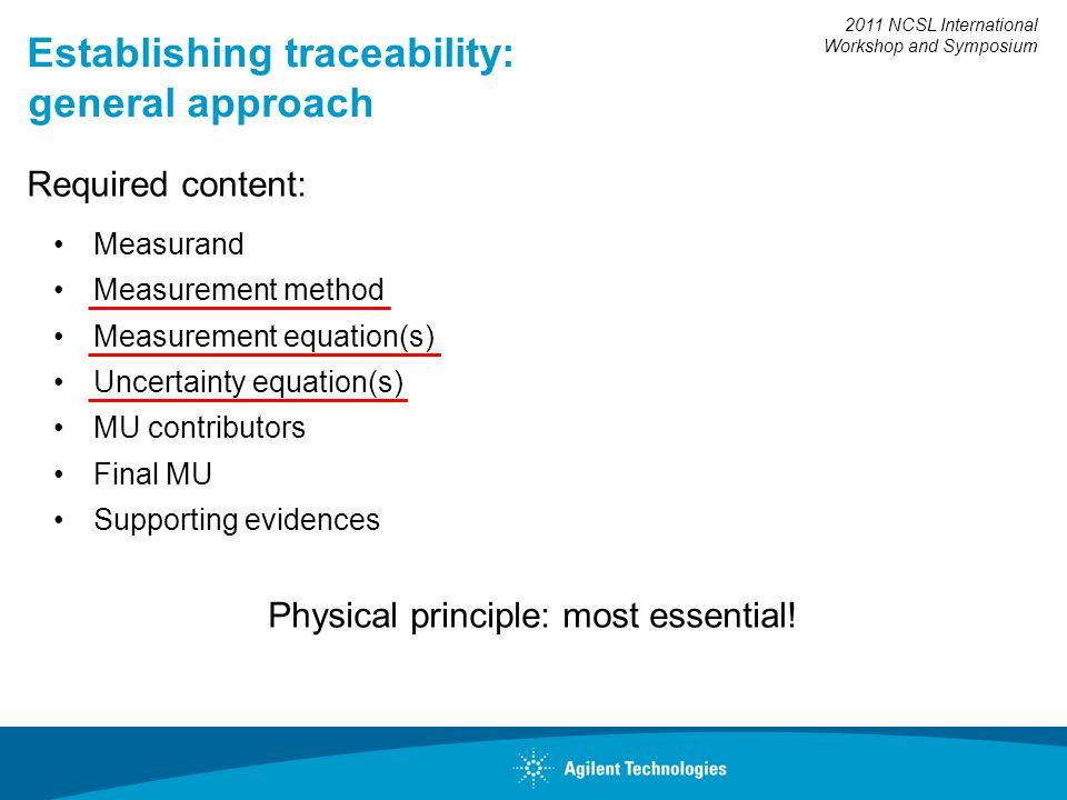 2011 NCSL International Workshop and Symposium Establishing traceability: general approach Required content: Measurand Measurement method Measurement