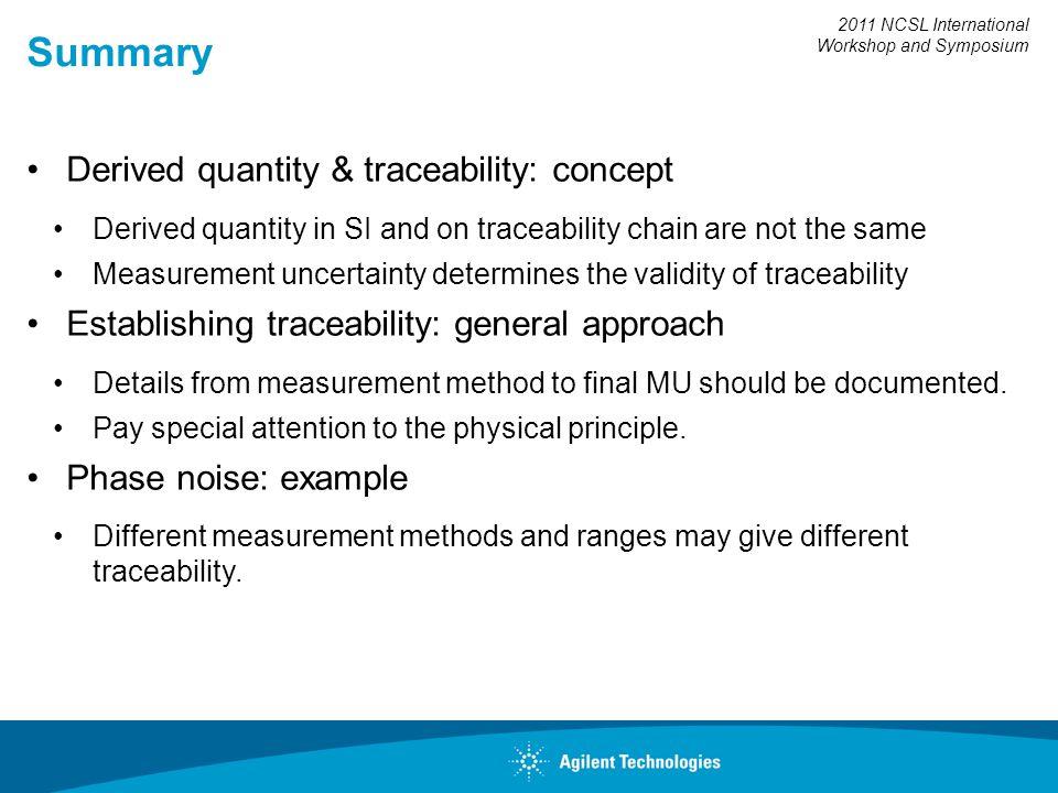 2011 NCSL International Workshop and Symposium Summary Derived quantity & traceability: concept Derived quantity in SI and on traceability chain are n