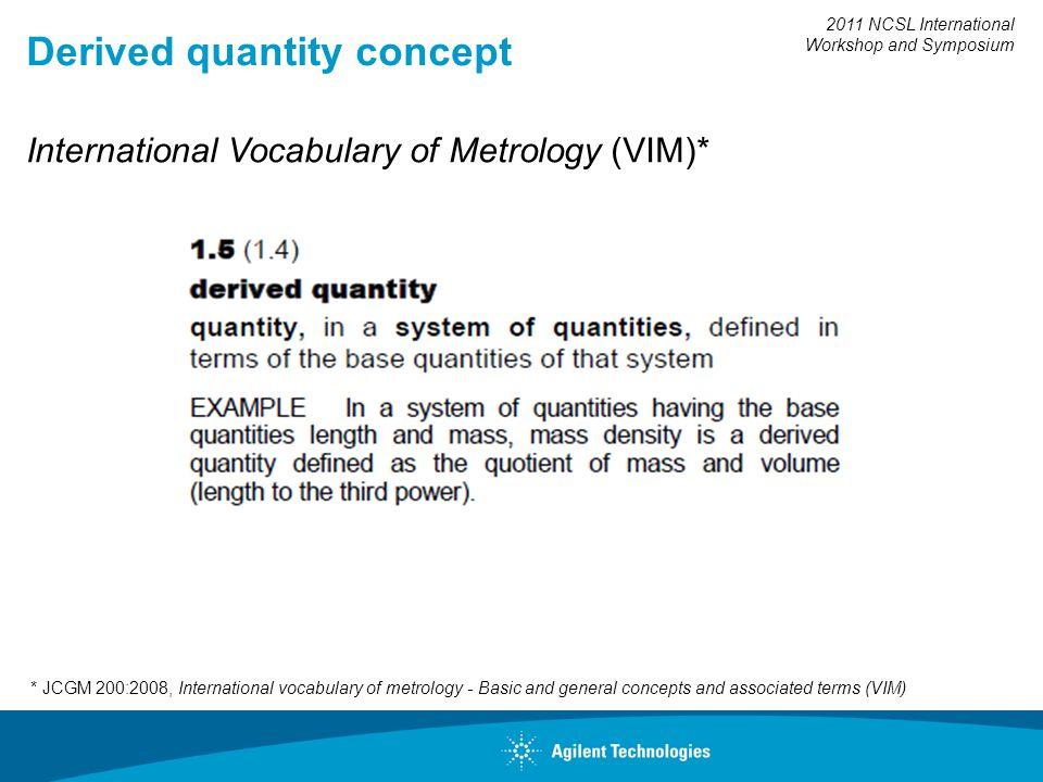 2011 NCSL International Workshop and Symposium Derived quantity concept * JCGM 200:2008, International vocabulary of metrology - Basic and general con