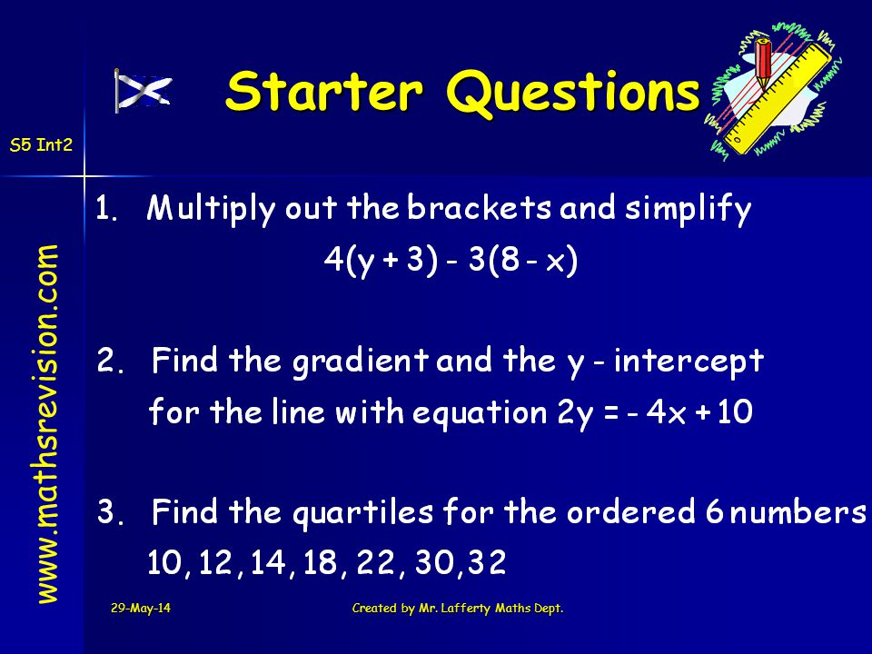 29-May-14Created by Mr. Lafferty Maths Dept. Starter Questions Starter Questions www.mathsrevision.com S5 Int2