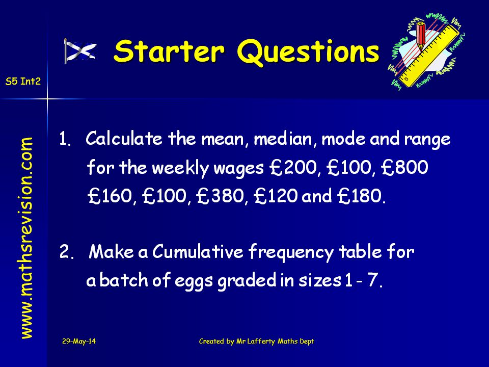 29-May-14Created by Mr Lafferty Maths Dept Starter Questions www.mathsrevision.com S5 Int2