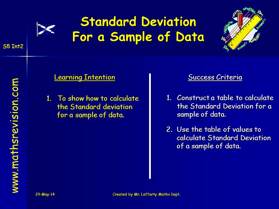 29-May-14Created by Mr. Lafferty Maths Dept. www.mathsrevision.com Learning Intention Success Criteria 1.Construct a table to calculate the Standard D