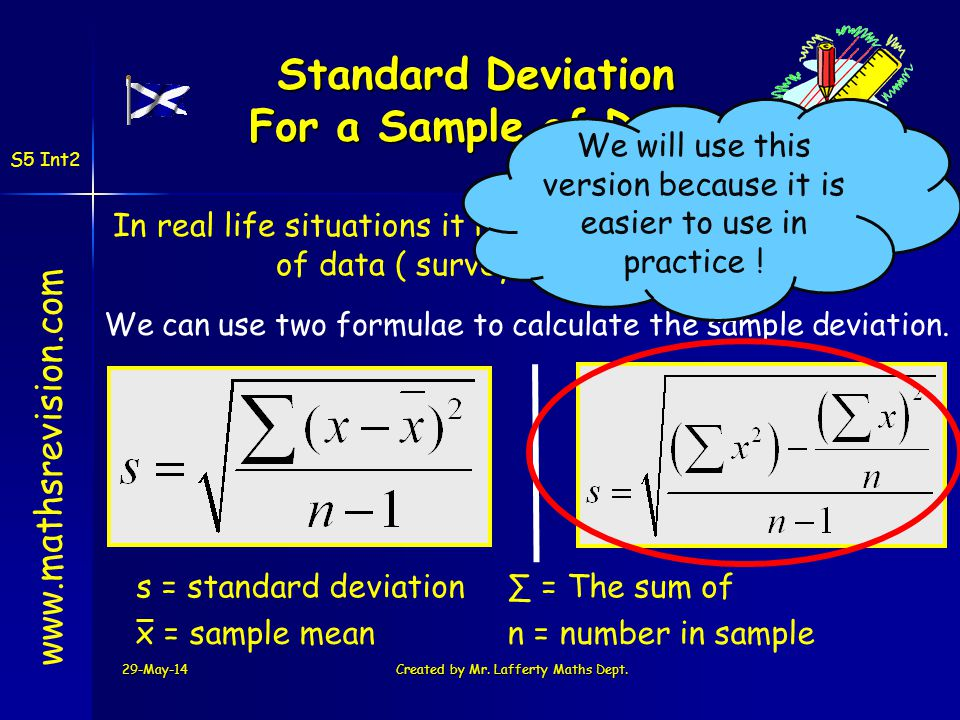 29-May-14Created by Mr. Lafferty Maths Dept. www.mathsrevision.com S5 Int2 Standard Deviation For a Sample of Data In real life situations it is norma
