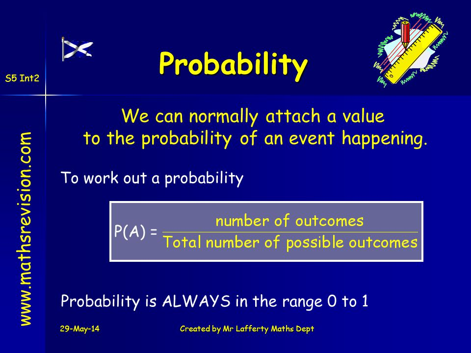 Probability www.mathsrevision.com To work out a probability P(A) = Probability is ALWAYS in the range 0 to 1 S5 Int2 29-May-14Created by Mr Lafferty M