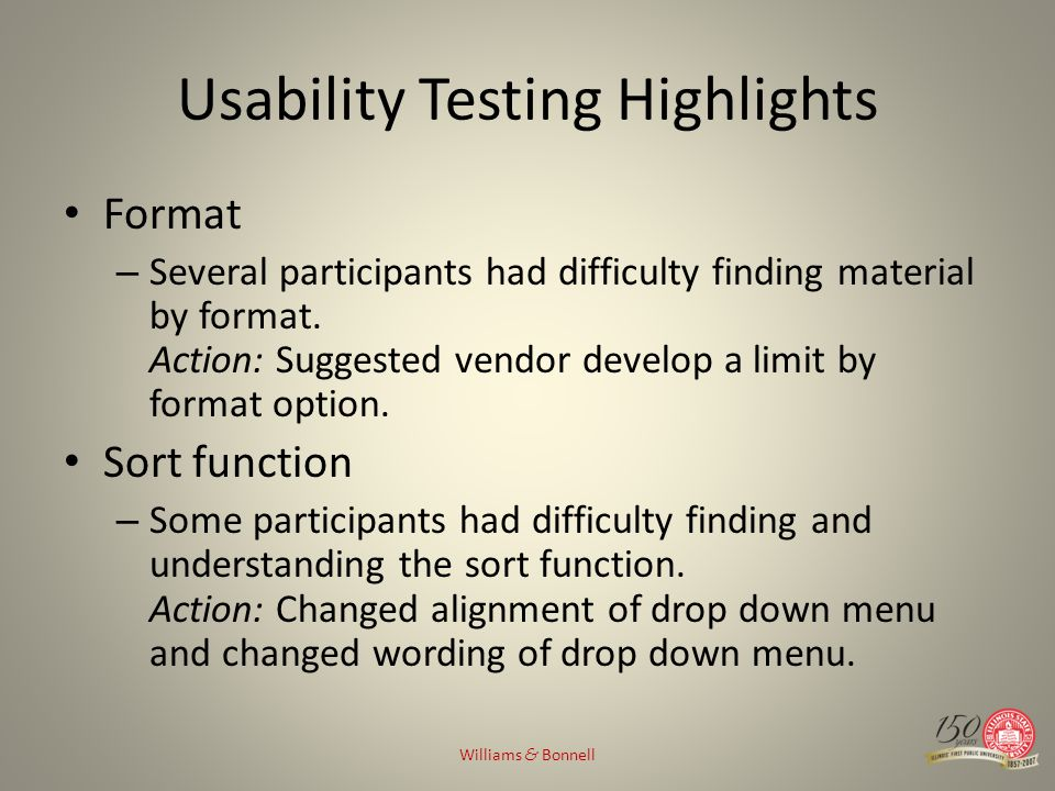 Usability Testing Highlights Format – Several participants had difficulty finding material by format.