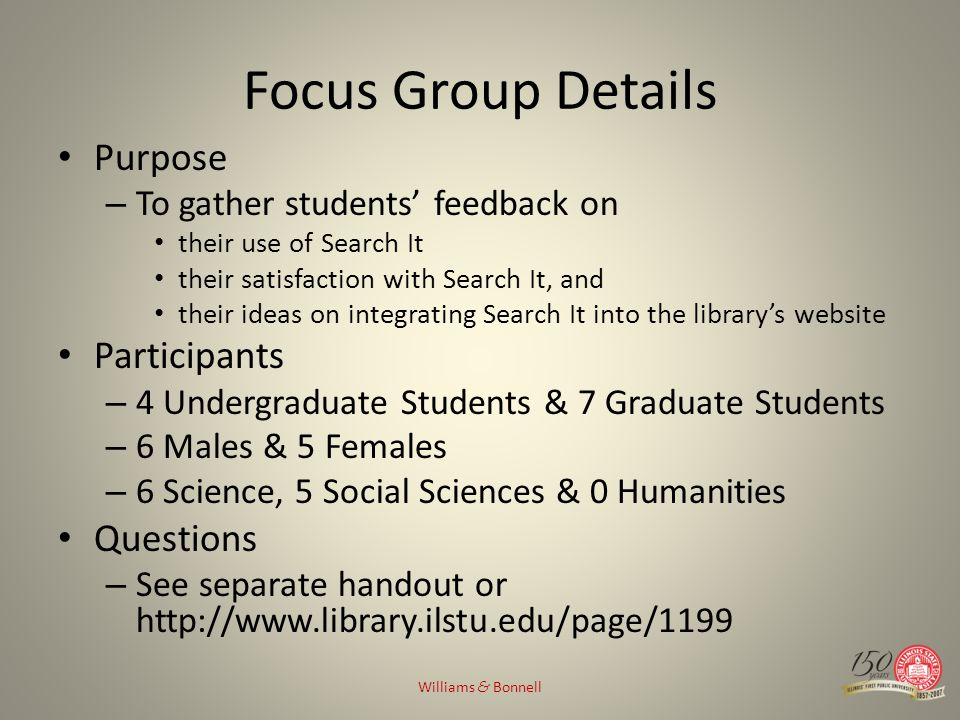 Focus Group Details Purpose – To gather students feedback on their use of Search It their satisfaction with Search It, and their ideas on integrating