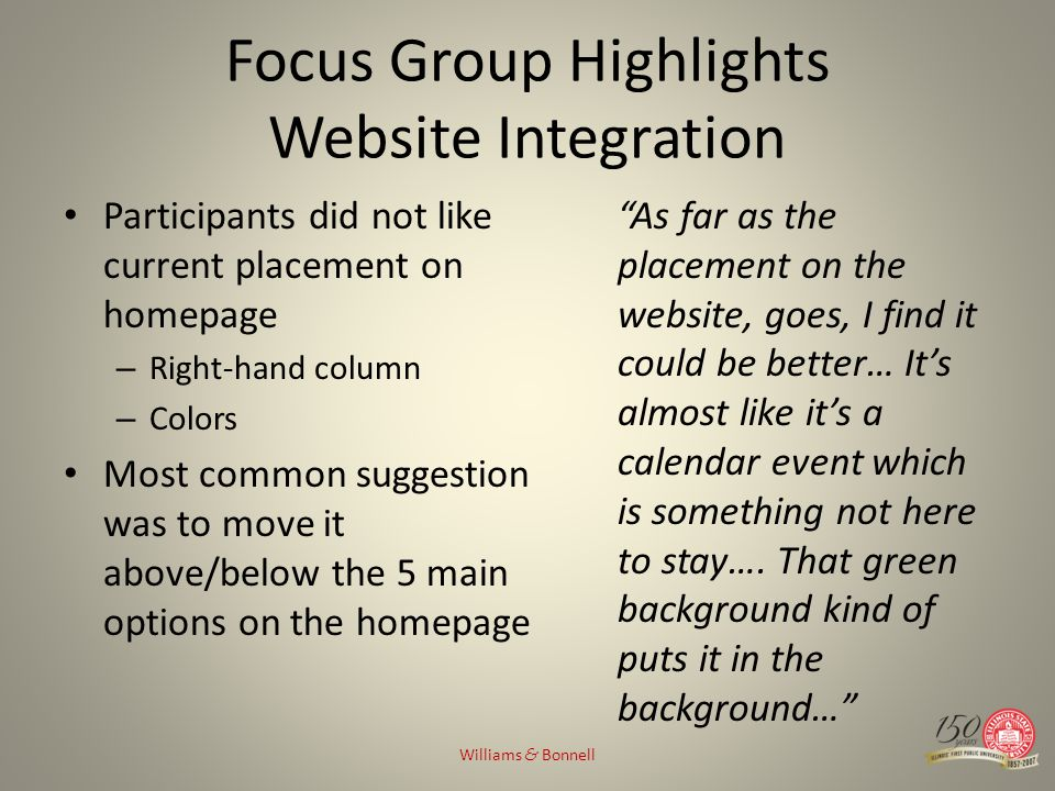 Focus Group Highlights Website Integration Participants did not like current placement on homepage – Right-hand column – Colors Most common suggestion was to move it above/below the 5 main options on the homepage As far as the placement on the website, goes, I find it could be better… Its almost like its a calendar event which is something not here to stay….
