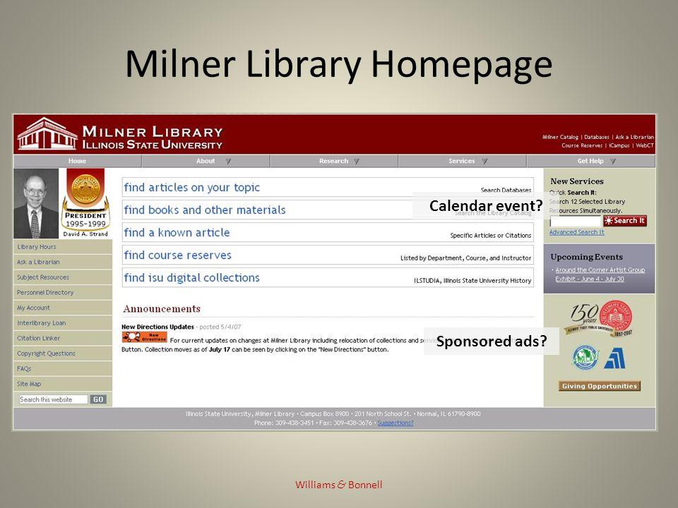 Milner Library Homepage Williams & Bonnell Calendar event Sponsored ads