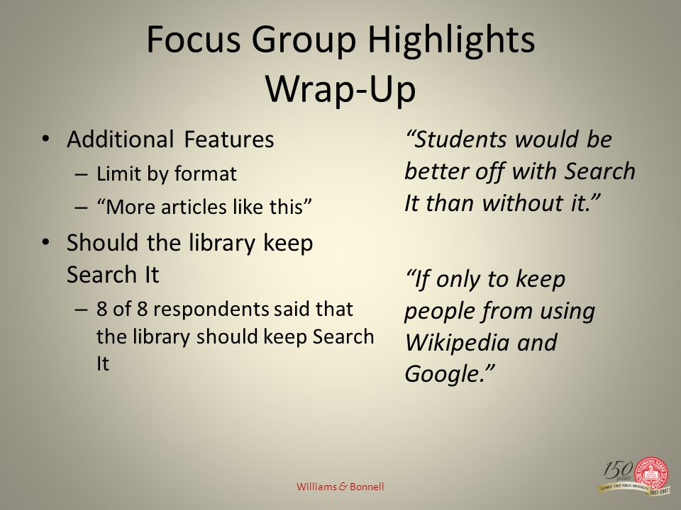 Focus Group Highlights Wrap-Up Additional Features – Limit by format – More articles like this Should the library keep Search It – 8 of 8 respondents