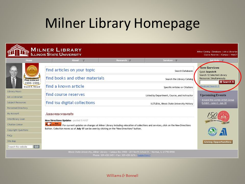 Milner Library Database Page Williams & Bonnell