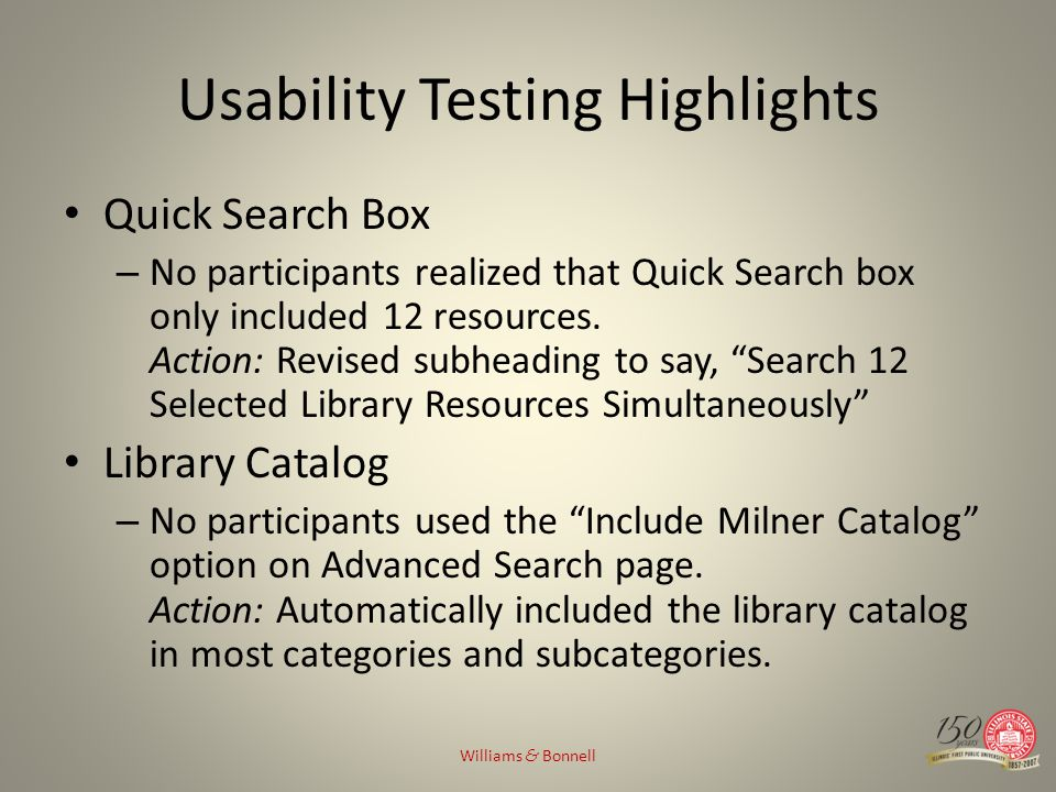 Usability Testing Highlights Quick Search Box – No participants realized that Quick Search box only included 12 resources. Action: Revised subheading