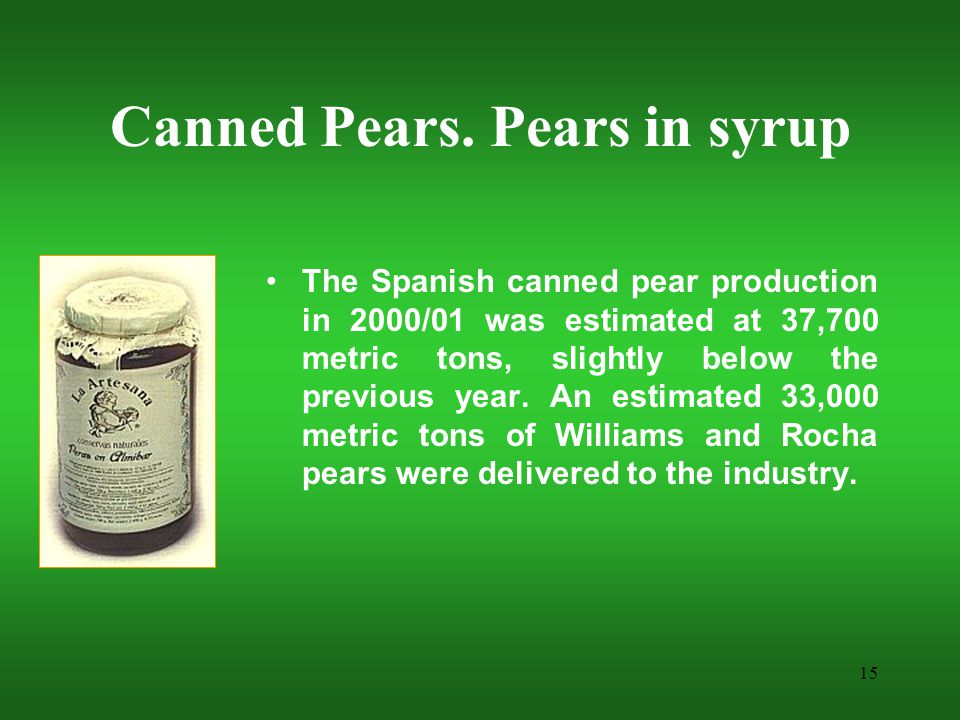15 Canned Pears.