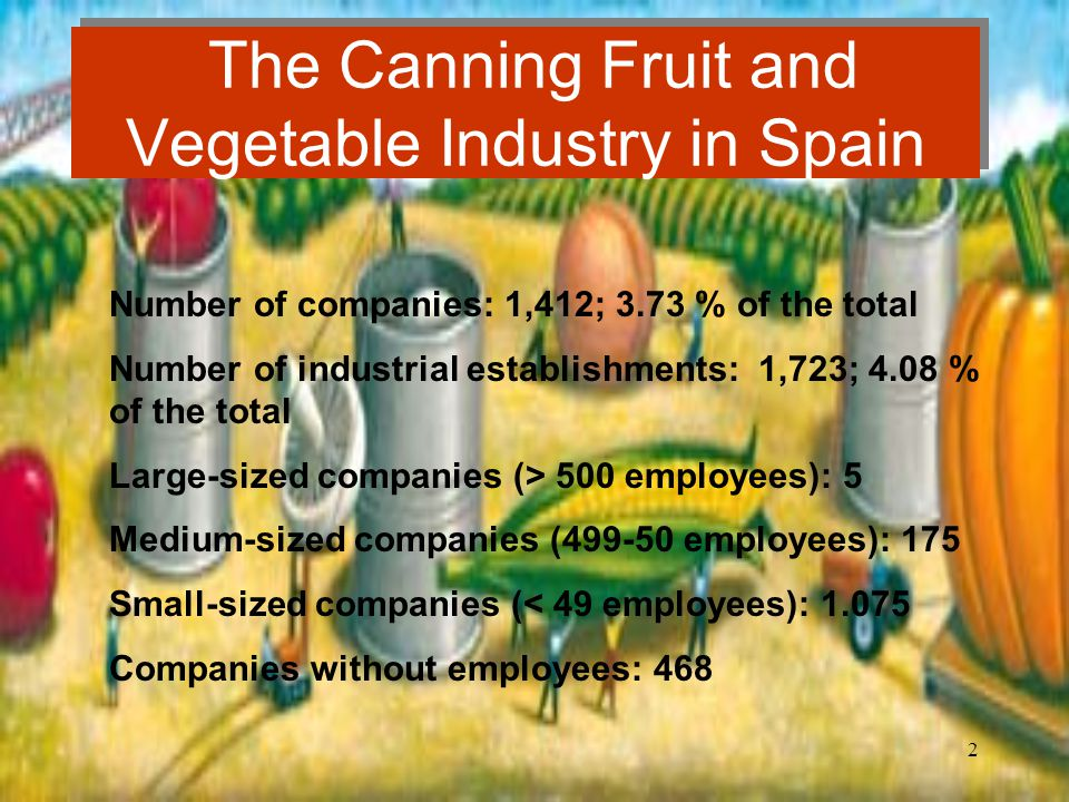 2 The Canning Fruit and Vegetable Industry in Spain Number of companies: 1,412; 3.73 % of the total Number of industrial establishments: 1,723; 4.08 % of the total Large-sized companies (> 500 employees): 5 Medium-sized companies (499-50 employees): 175 Small-sized companies (< 49 employees): 1.075 Companies without employees: 468