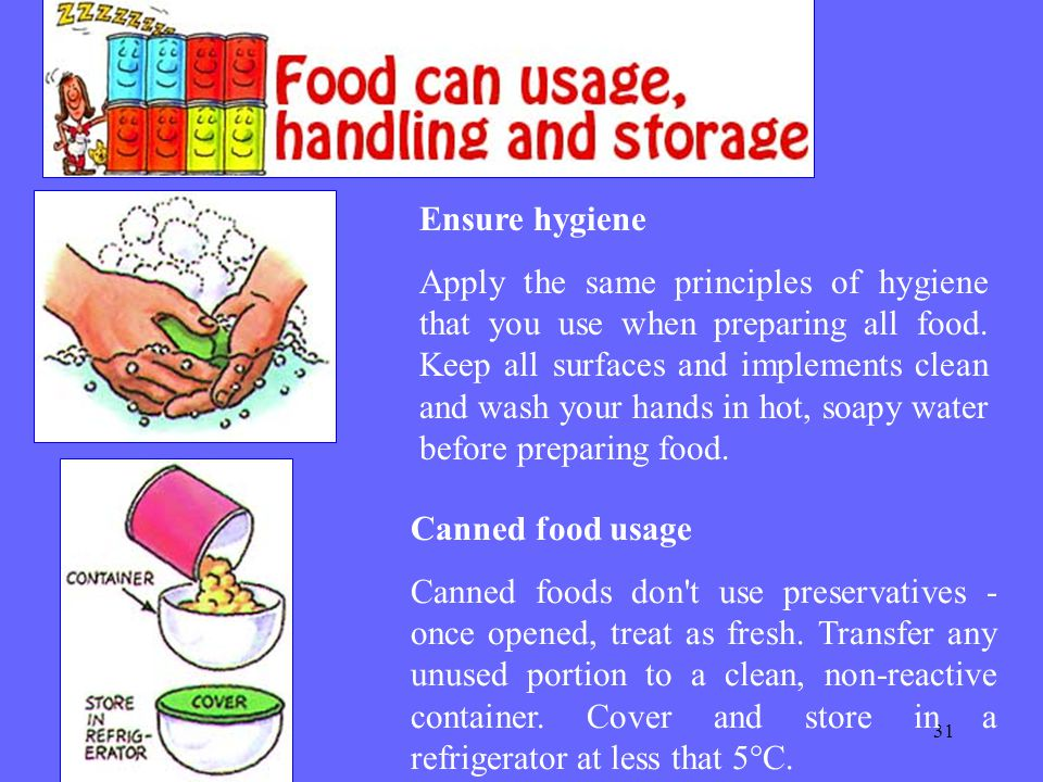 31 Ensure hygiene Apply the same principles of hygiene that you use when preparing all food.