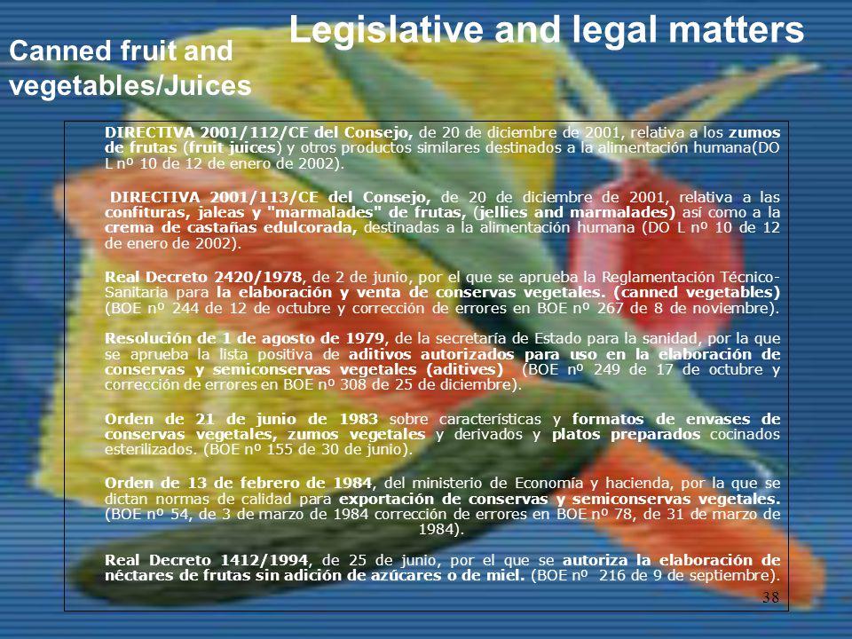38 DIRECTIVA 2001/112/CE del Consejo, de 20 de diciembre de 2001, relativa a los zumos de frutas (fruit juices) y otros productos similares destinados a la alimentación humana(DO L nº 10 de 12 de enero de 2002).