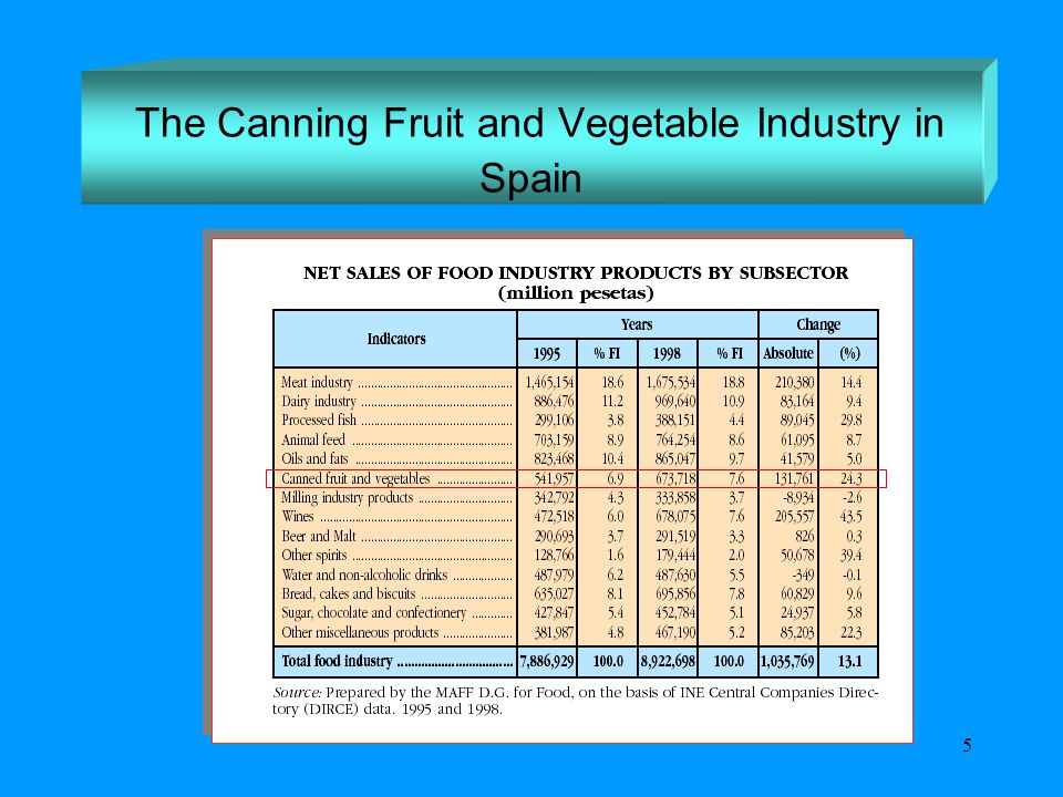 5 The Canning Fruit and Vegetable Industry in Spain