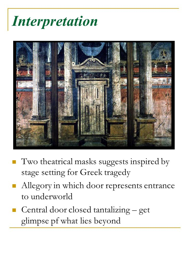 Interpretation Two theatrical masks suggests inspired by stage setting for Greek tragedy Allegory in which door represents entrance to underworld Cent