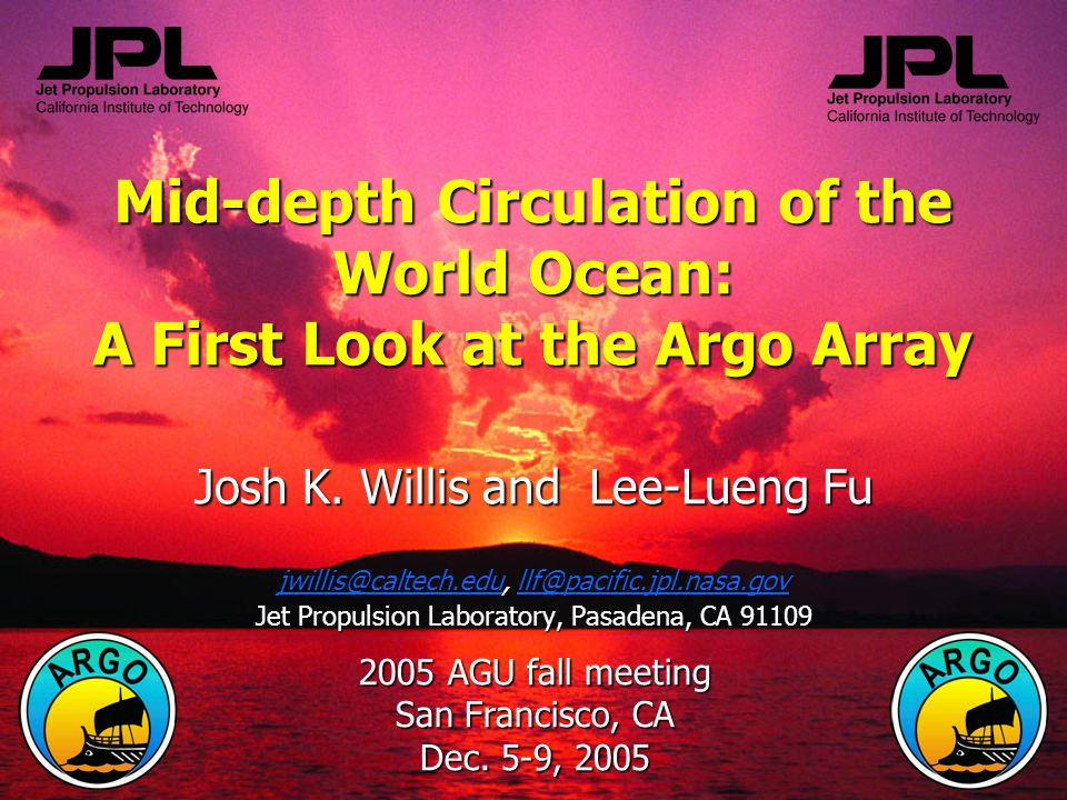 Mid-depth Circulation of the World Ocean: A First Look at the Argo Array Josh K.