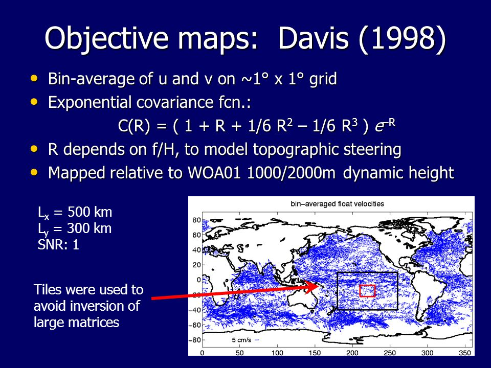 Objective maps: Davis (1998) Bin-average of u and v on ~1° x 1° grid Bin-average of u and v on ~1° x 1° grid Exponential covariance fcn.: Exponential covariance fcn.: C(R) = ( 1 + R + 1/6 R 2 – 1/6 R 3 ) e –R R depends on f/H, to model topographic steering R depends on f/H, to model topographic steering Mapped relative to WOA01 1000/2000m dynamic height Mapped relative to WOA01 1000/2000m dynamic height Tiles were used to avoid inversion of large matrices L x = 500 km L y = 300 km SNR: 1