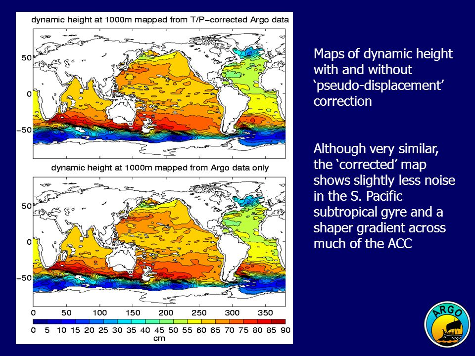 Maps of dynamic height with and without pseudo-displacement correction Although very similar, the corrected map shows slightly less noise in the S.