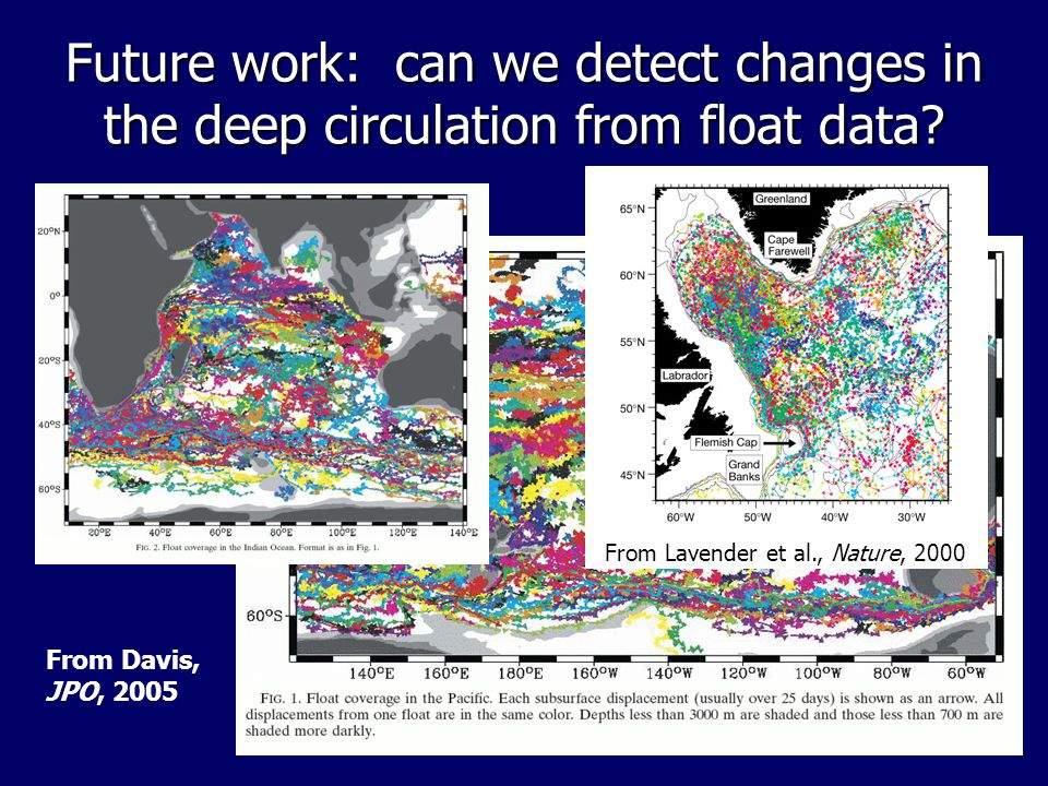 Future work: can we detect changes in the deep circulation from float data? From Davis, JPO, 2005 From Lavender et al., Nature, 2000