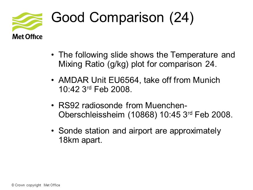 © Crown copyright Met Office Good Comparison (24) The following slide shows the Temperature and Mixing Ratio (g/kg) plot for comparison 24.