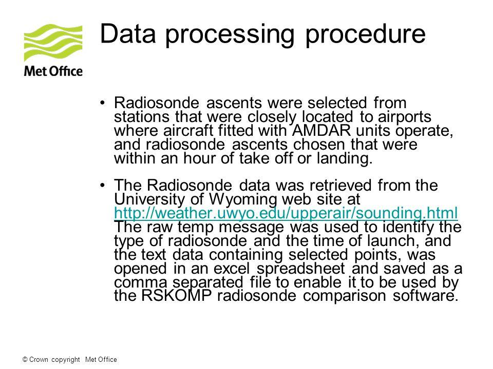© Crown copyright Met Office Data processing procedure AMDAR data was retrieved in text format, from the Met Office database.