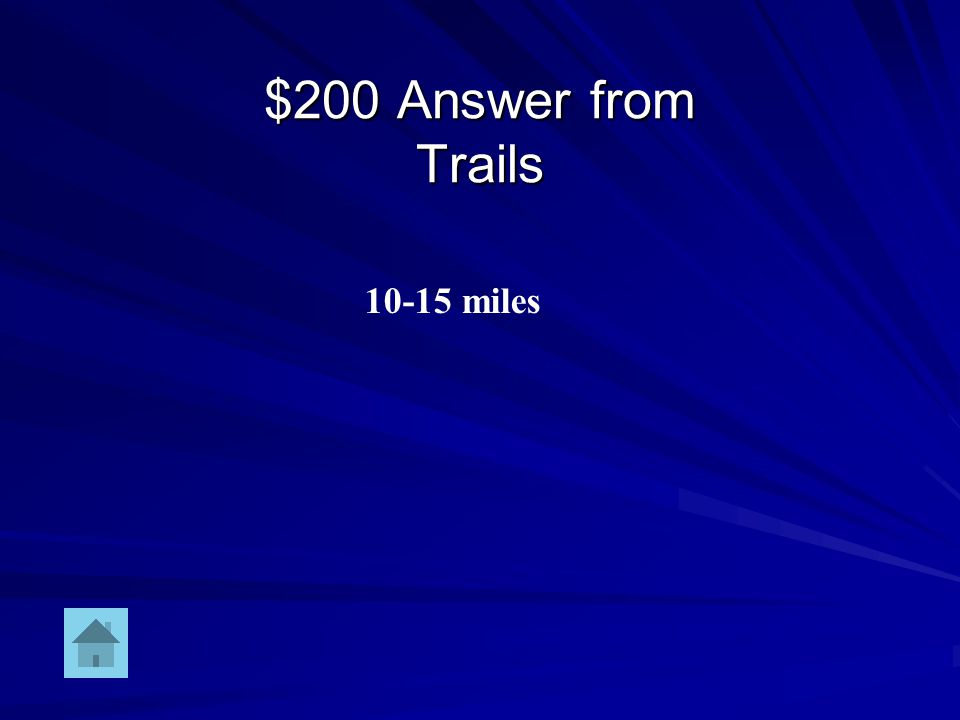 $200 Question from Trails Number of miles traveled in a typical day