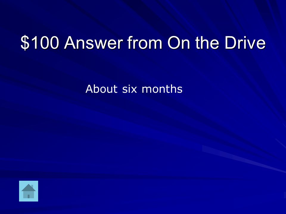 $100 Question from On the Drive Amount of time (months) to finish the drive