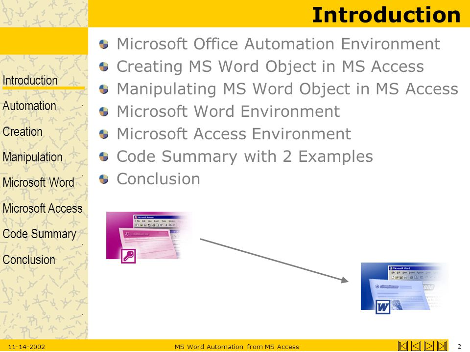 Introduction Automation Creation Manipulation Microsoft Word Microsoft Access Code Summary Conclusion 11-14-2002MS Word Automation from MS Access 2 Introduction Microsoft Office Automation Environment Creating MS Word Object in MS Access Manipulating MS Word Object in MS Access Microsoft Word Environment Microsoft Access Environment Code Summary with 2 Examples Conclusion