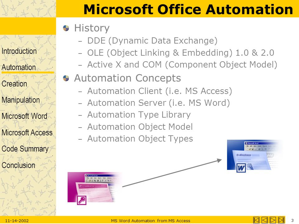 Introduction Automation Creation Manipulation Microsoft Word Microsoft Access Code Summary Conclusion 11-14-2002MS Word Automation from MS Access 3 History – DDE (Dynamic Data Exchange) – OLE (Object Linking & Embedding) 1.0 & 2.0 – Active X and COM (Component Object Model) Automation Concepts – Automation Client (i.e.