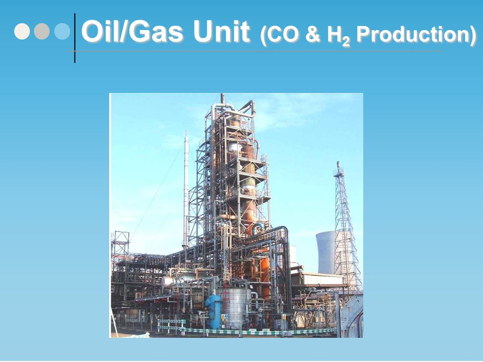 Oil/Gas Unit Summary This unit produces carbon monoxide (which is a feedstock for the DMF production process) by the partial oxidation of natural gas in oxygen using Texaco gasification technology.