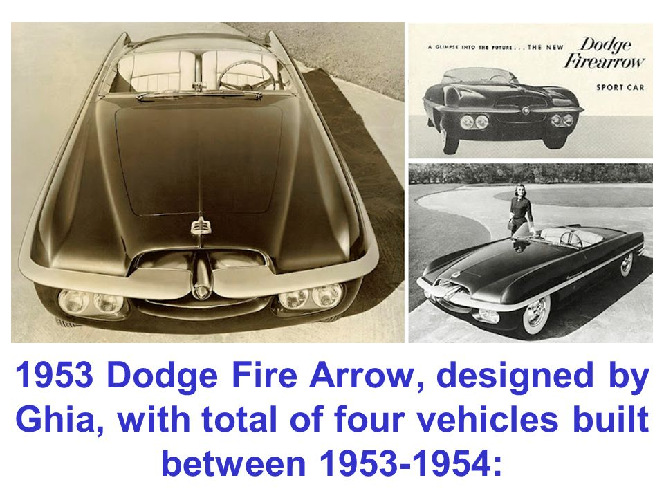 1953 Dodge Fire Arrow, designed by Ghia, with total of four vehicles built between 1953-1954: