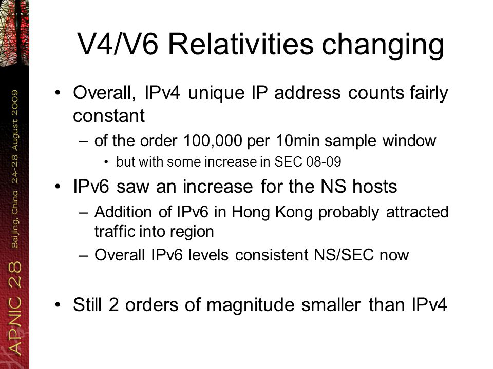 V4/V6 Relativities changing Overall, IPv4 unique IP address counts fairly constant –of the order 100,000 per 10min sample window but with some increase in SEC 08-09 IPv6 saw an increase for the NS hosts –Addition of IPv6 in Hong Kong probably attracted traffic into region –Overall IPv6 levels consistent NS/SEC now Still 2 orders of magnitude smaller than IPv4