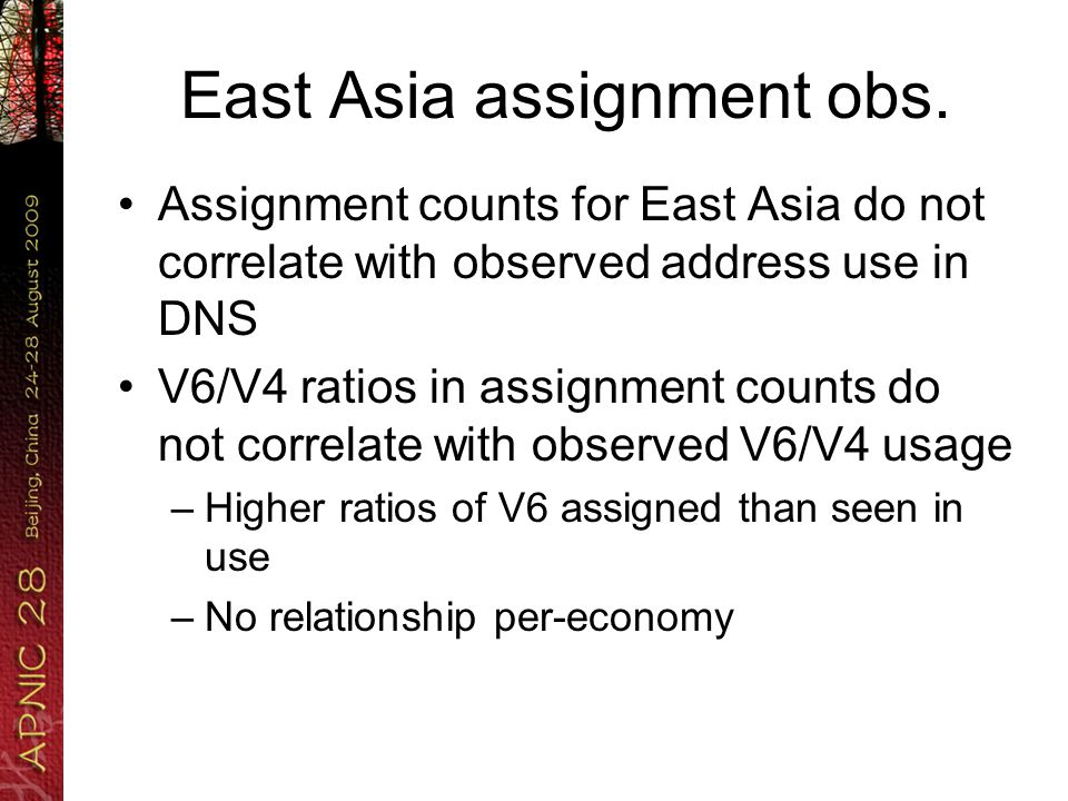 East Asia assignment obs.