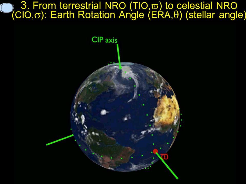 3. From terrestrial NRO ( TIO, ) to celestial NRO ( CIO, ): Earth Rotation Angle ( ERA, ) (stellar angle)