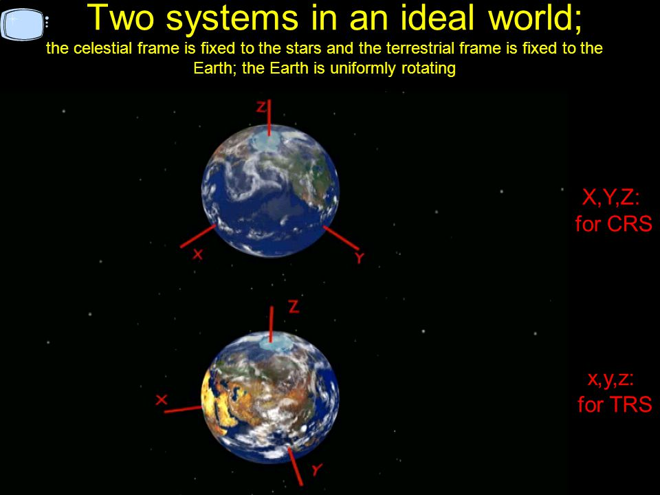 Two systems in an ideal world; the celestial frame is fixed to the stars and the terrestrial frame is fixed to the Earth; the Earth is uniformly rotating x,y,z: for TRS X,Y,Z: for CRS