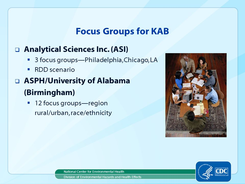 National Center for Environmental Health Division of Environmental Hazards and Health Effects Focus Groups for KAB Analytical Sciences Inc.