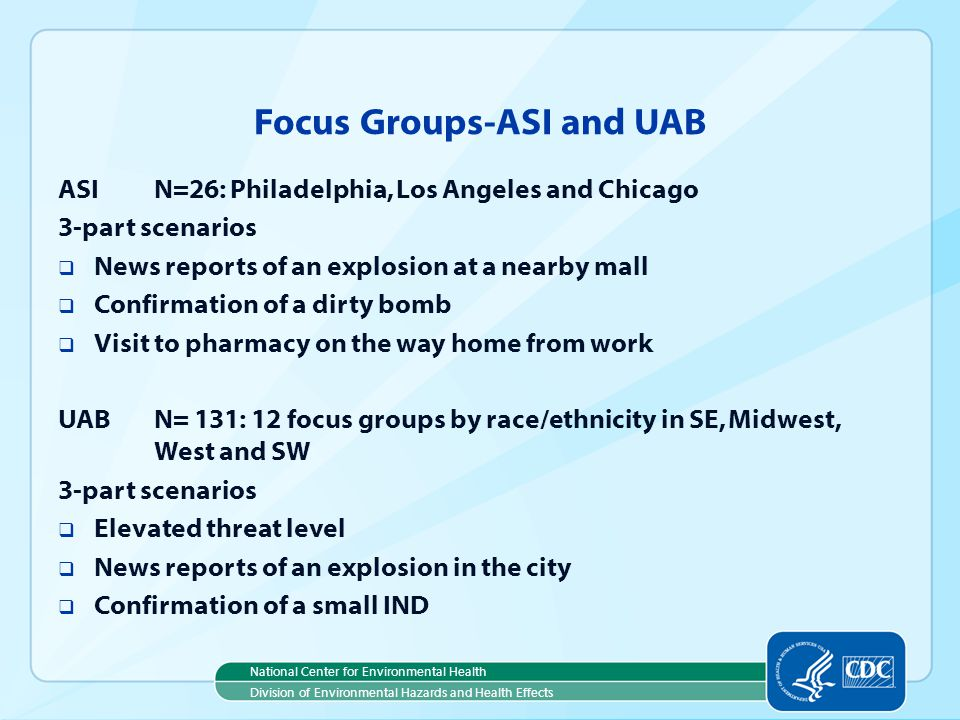 National Center for Environmental Health Division of Environmental Hazards and Health Effects Focus Groups-ASI and UAB ASIN=26: Philadelphia, Los Angeles and Chicago 3-part scenarios News reports of an explosion at a nearby mall Confirmation of a dirty bomb Visit to pharmacy on the way home from work UABN= 131: 12 focus groups by race/ethnicity in SE, Midwest, West and SW 3-part scenarios Elevated threat level News reports of an explosion in the city Confirmation of a small IND