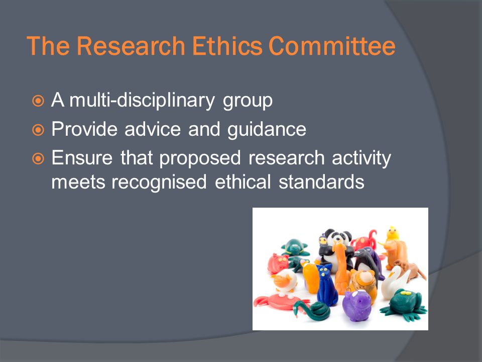 The Research Ethics Committee A multi-disciplinary group Provide advice and guidance Ensure that proposed research activity meets recognised ethical s