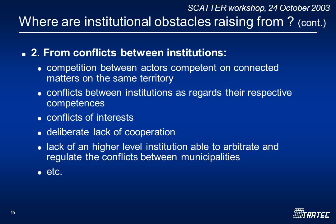 SCATTER workshop, 24 October 2003 15 Where are institutional obstacles raising from .