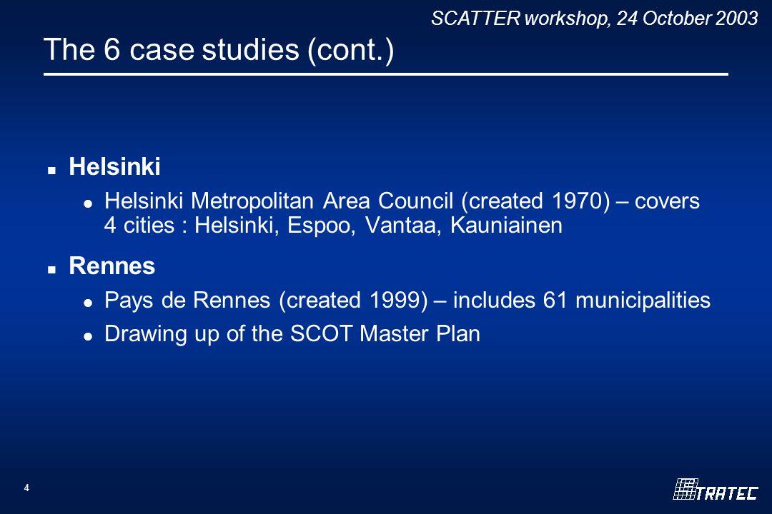 SCATTER workshop, 24 October 2003 4 The 6 case studies (cont.) Helsinki Helsinki Metropolitan Area Council (created 1970) – covers 4 cities : Helsinki